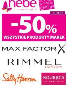 HEBE -50% WSZYSTKIE PRODUKTY MAREK Max Factor, Rimmel London, Sally Hansen, Bourjois